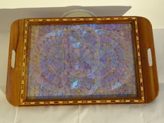 Wooden tray with iridescent butterfly wings Design