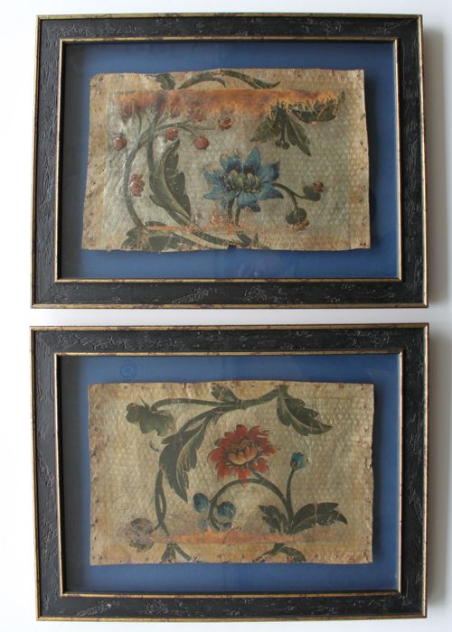 Two framed gold leather fragments - 18th century, possibly earlier