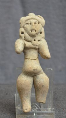 Pre-Columbian pottery statue/idol of a standing figure - 11,3 cm