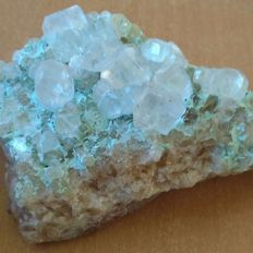 """Calcite with chrysocolla  """"phantoms"""" - 110 x 70mm - 364 gm"""