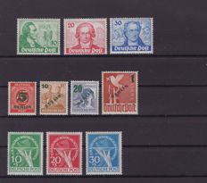 Berlin 1949 - Goethe series to aid series - Michel 61/70, overprint, stamps tested