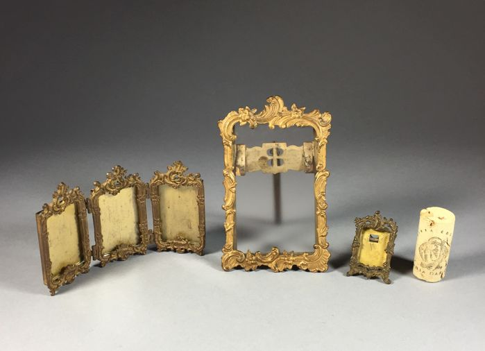 Three brass picture frames in Rococo style - France - ca. 1900