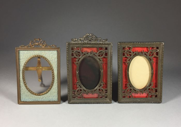 Three brass photo frames in Louis XVI style - France - ca. 1900