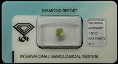 1.00 ct IGI Natural Fancy Greenish Yellow Diamond – NO RESERVE