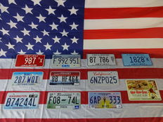 Beautiful set of 10 American number plates - 987TX - 207WQI - B74244L - F992951 - 9BHF464 - F0874L - 87786ST - 6NZP025 - 6AP333 - 1828TK