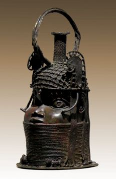 Commemorative Head of a King - Benin - In the Typical Style of the 19th Century.