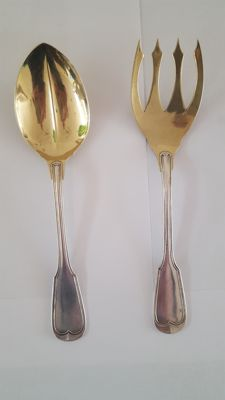 Silver Salad cutlery with gilded bowl and fork. Foehr. Eduard Stuttgart 1835/1904.Germany