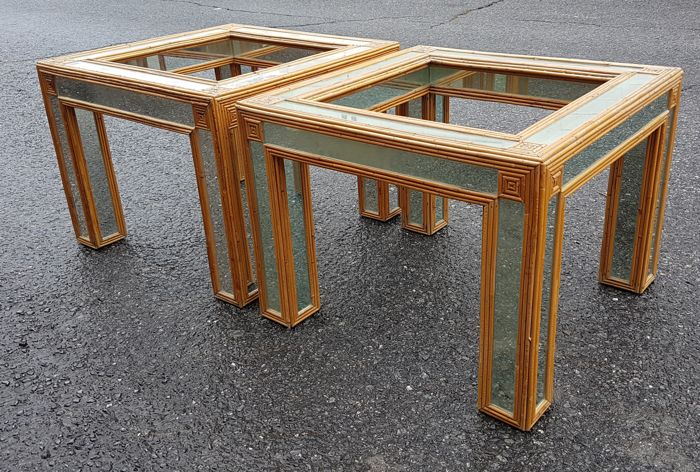Pair of side tables of wood with mirrors. Spain, from the 80s.