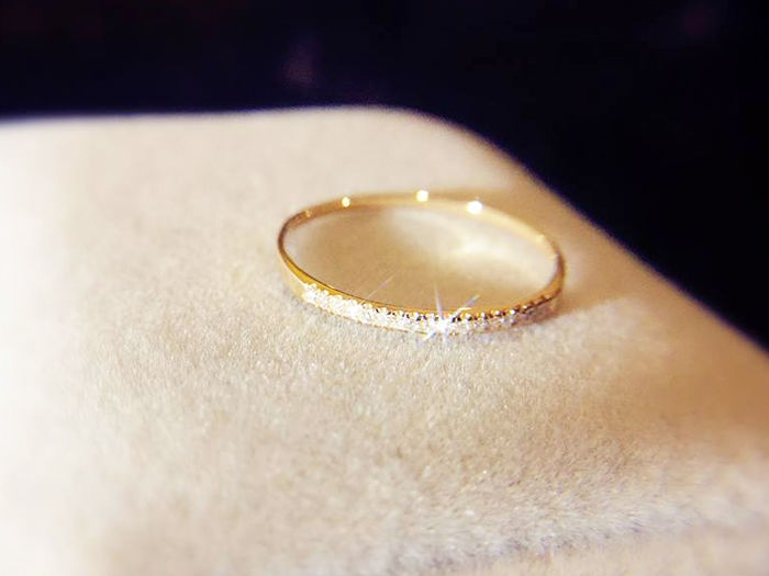 Gold ring with 15 Diamonds 0.08 ct total - #53(EU) - No Reserve Price