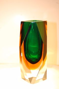 Unknown (Murano) - sommerso vase (green and yellow)