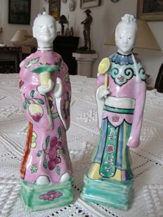 Set of two immortal statuettes in famille rose porcelain — China — 19th century