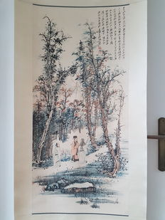 A Hand painted scroll painting after Zhang Daqian - China - late 20th century