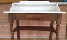 Poplar wood vanity table with marble top - late 19th century