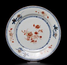 Fine blue and iron-red plate - China - ca. 1750