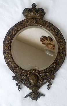 Brass mirror from a carriage - Late 19th century