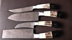 Set of four handmade Damask knives - 200 + layers damask steel