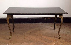 Baroque coffee table with granite table top, France, 1950s