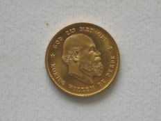 The Netherlands – 10 Guilder Coin, 1879, William III – Gold