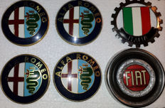Beautiful enamelled FIAT logo 1970s (three-part) - Emblem Italia with flag at the beginning of this century - 4 Alfa Romeo emblems 1980s