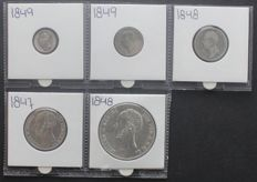 The Netherlands - 10 cents through 2½ guilders 1847/1849 (5 different values) Willem II - silver