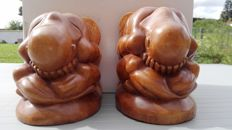 Pair of Orang malu statues- wooden bookends from Bali, Indonesia.