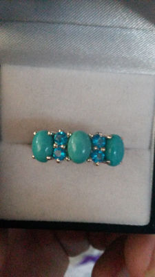 Tiffany blue, Van Cleef/Arples style Genuine Sleeping Beauty Turquoise with Brazillian Neon Apatite coctail ring. No reserve
