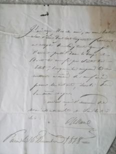Battle of TRAFALGAR, 4 autograph letters from an officer to the Lt. MOURGUES, both prisoners sent to England in 1808.