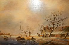 Jack Bekers - ( 1944 - 2016 ) - Beautiful Dutch landscape with ice skaters.