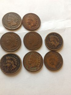 United States - 1 Cent 1859/1898 'Indian Head' (lot of 8 coins) - Bronze
