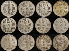 Holland (NL) - double weapon nickels - 1752/1792 - 12 different coins
