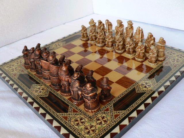 Nigri Chess Set. Board Made Of Marquetry From Granada.