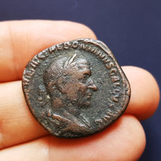 Roman Empire - Trebonianus Gallus (251-253 AD) – Bronze Sestertius (18,76 gr., 31 mm.) with Virtus on R/ - Rome Mint, struck 252 AD