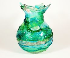 Imperio Rossi - green, aquamarine and silver vase, Sbruffi series