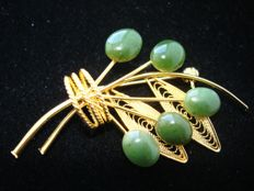 Filigree crafted gold filled bouquet Brooch, Swoboda style, vintage 1970's