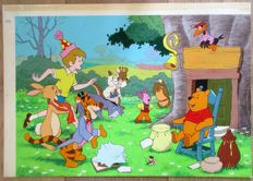 English Studio - Original gouache/watercolour - Disney scene with many main characters from Winnie the Pooh (1960s/'70s)