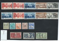 """Switzerland 1934/1939 – Four complete series """"Société des Nations"""" – Michel 42/46, 57/60, 61/64 and 65/67 Specimen. With certificate of examination."""