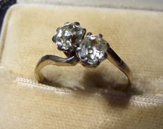 Antique 2 Stone Diamond Crossover Ring