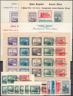Spain 1938 –Patriotic local emissions: Burgos , historical monuments , army and navy – Edifil No. 91, 95, 96, 97, 98, 99, 100.