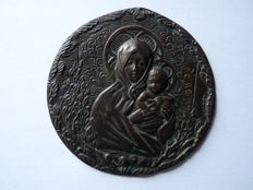 Cast bronze medal - Madonna of the Olive Branch, Barabino - 1887 / 1900