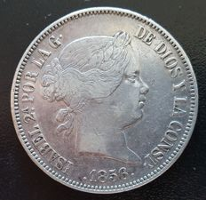 Spain - batch of 2 coins - Isabel II - 20 reales - 1855/1856.