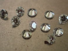 Lot of 11 diamonds 2.00 mm brilliant cut, total weight 0.39 ct, D/IF, The best!