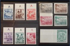 Indonesia 1953/1957 – Imperforate proof stamps – Zonnebloem 118A, 133/36A and 189/94A