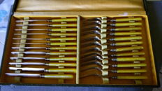 Box 12 dessert cutlery knives & forks gold metal & galalith + 12 teaspoons white gold metal