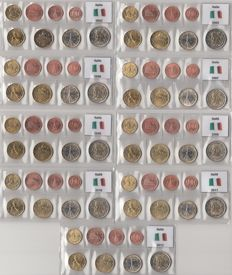 Italy – Year series of Euro coins 2002 and 2005 through 2012, complete