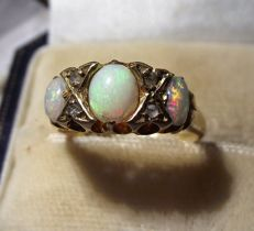 3 Stone Opal and Diamond ring, dated 1927