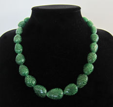 Sculpted emerald necklace - 14kt gold - Around 693 ct