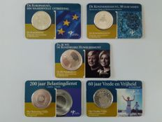 The Netherlands – 5 and 10 Euro coins 2002/2006 (5 different ones), in coin cards