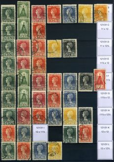 The Netherlands 1899/1923 - Composition of perforations and NVPH 82/83 in blocks of four