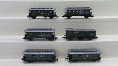 Fleischmann N - Amongst others -./8092/8093/8094 - Five passenger coaches and One baggage carriage of the DRG