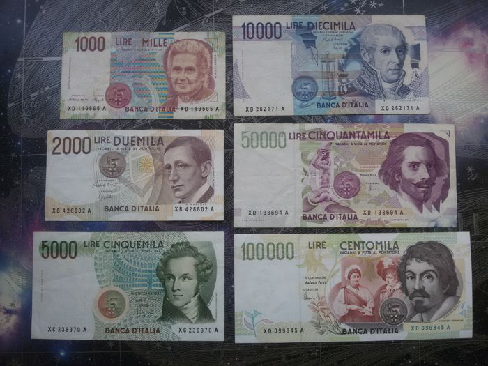 Italy - Republic - Substitute special set (6 banknotes)